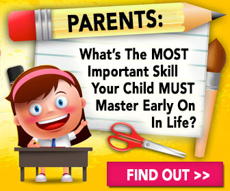 A banner with a child sitting at a desk with a query about the most important skill a child must master in life